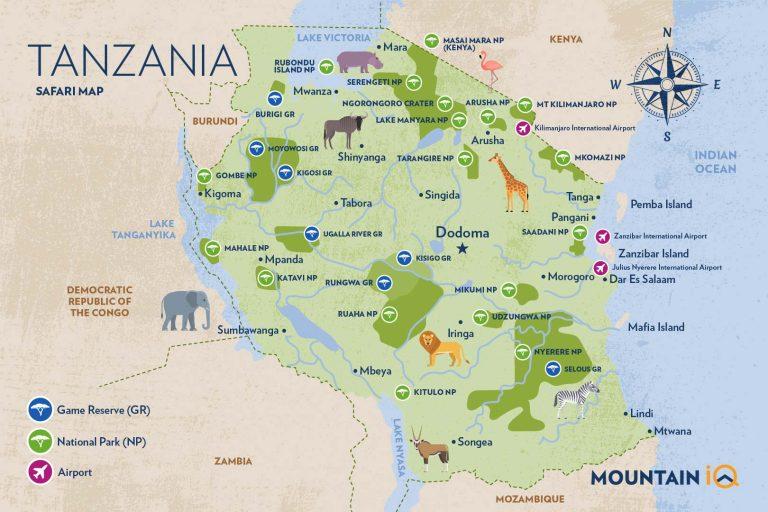 Tanzania safari map by Mountain IQ